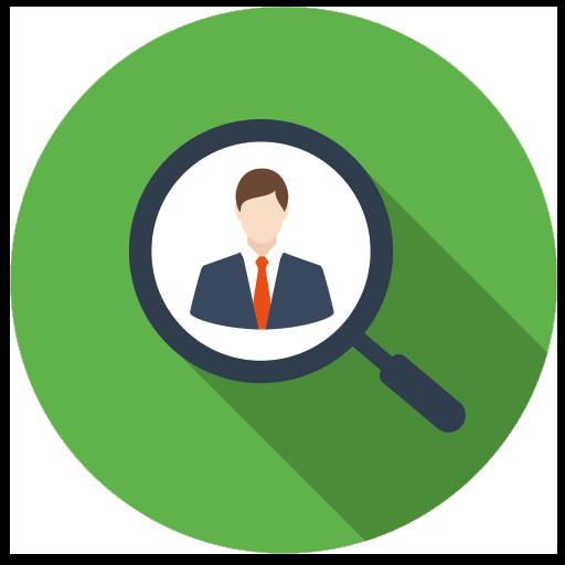 icon leter etter kandidater med lupe